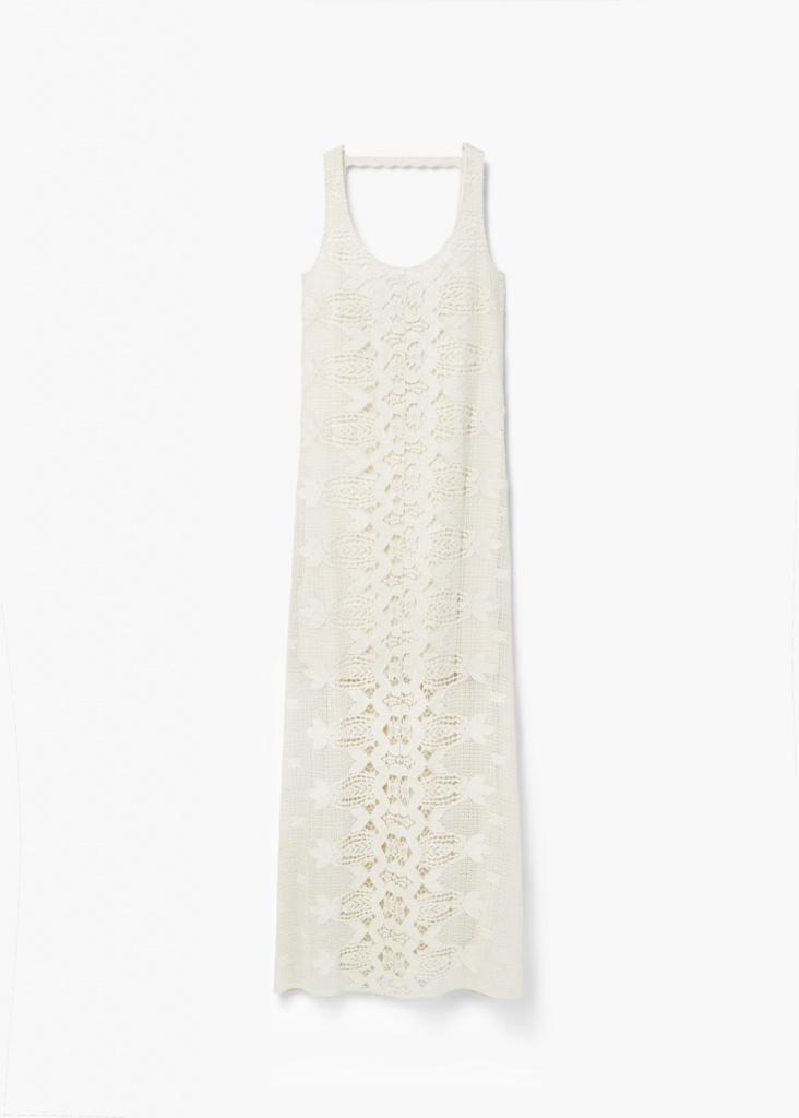 Ravissante robe longue mango crochet blanc dos nus