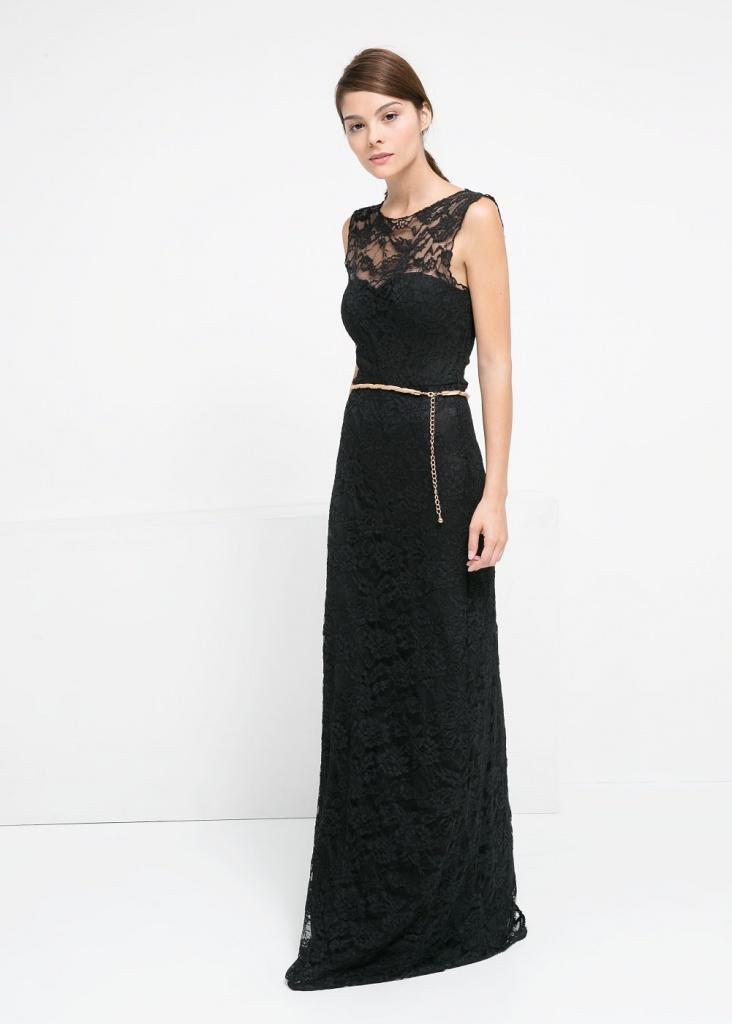 Ravissante robe noire de soiree dentelle et fine ceinture