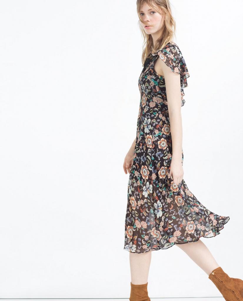 7f9656ce2f73d Robe a manche courte zara mi longue imprime fleur voile - la robe longue