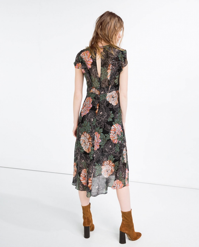cada932517306 Robe a volants zara mi longue imprime fleurs fluide - la robe longue