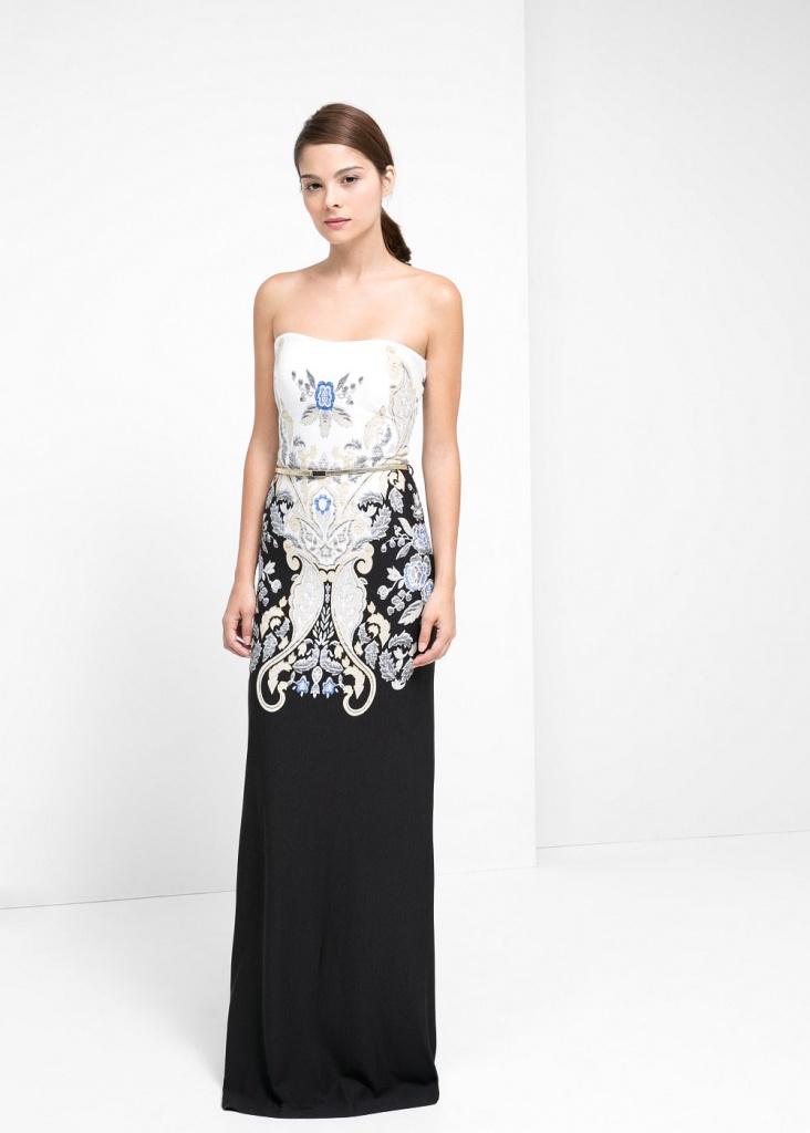 Robe bi color noir et imprime blanc longue mango 2012