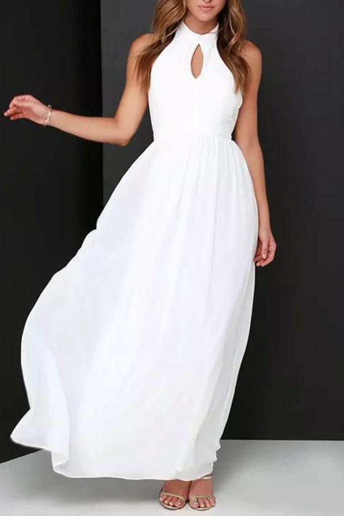 Robe blanche longue ete attache cou sans manche