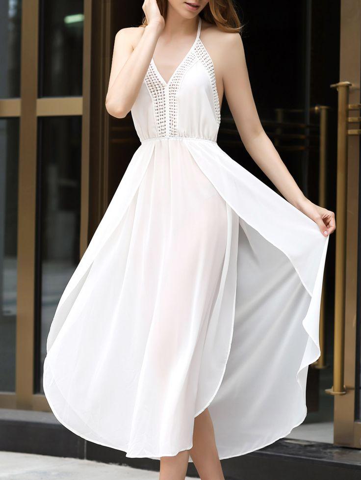Robe blanche longue fine bretelle et portefeuille