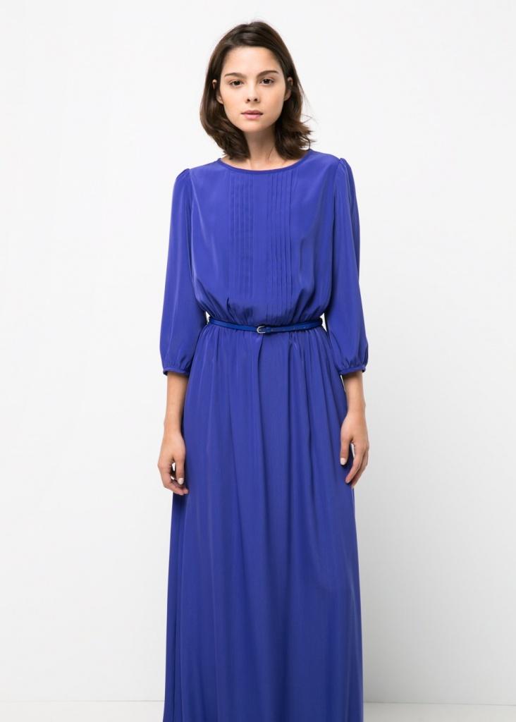 meilleur prix célèbre marque de designer artisanat de qualité Robe bleu ellectrique mango manches longues - la robe longue