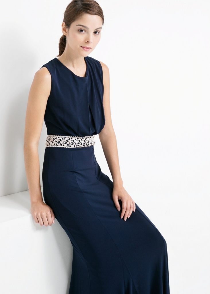 Robe bleu marine mango longue avec ceinture blanche - la robe longue 9fe3fc08d0f