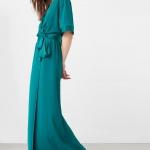 Robe bleue longue mango avec belle ceinture facon cache coeur