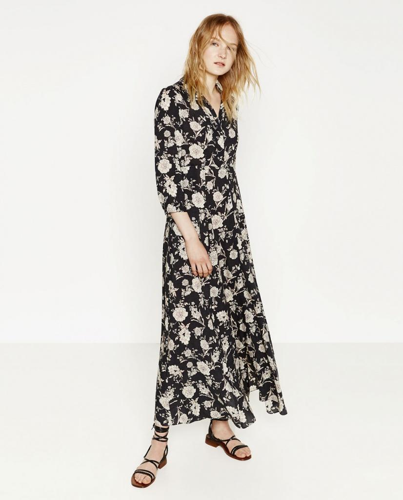 lace up in save off order online Robe boheme zara longue imprime fleurs claires sur fond noir ...
