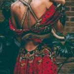 Robe boho longue femme imprime rouge originale