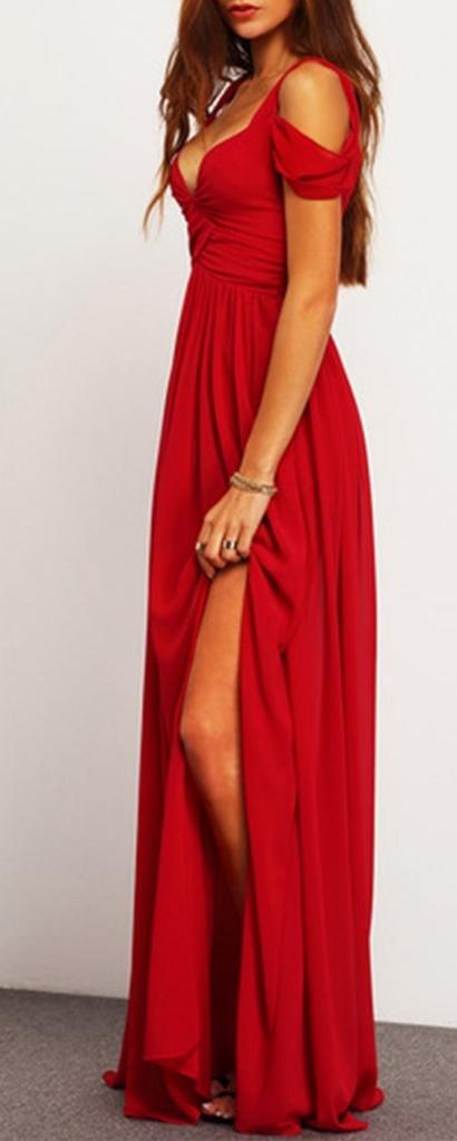 Robe de soiree fendue mi cuisse longue rouge