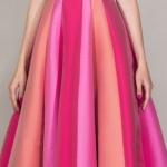 Robe de soiree longue rouge pale rose bustier