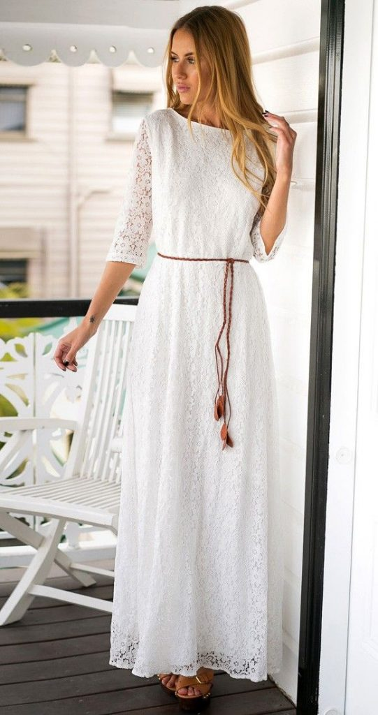 Robe dentelle manche longue blanche longue