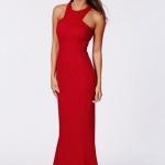 Robe dos nageuse longue femme rouge