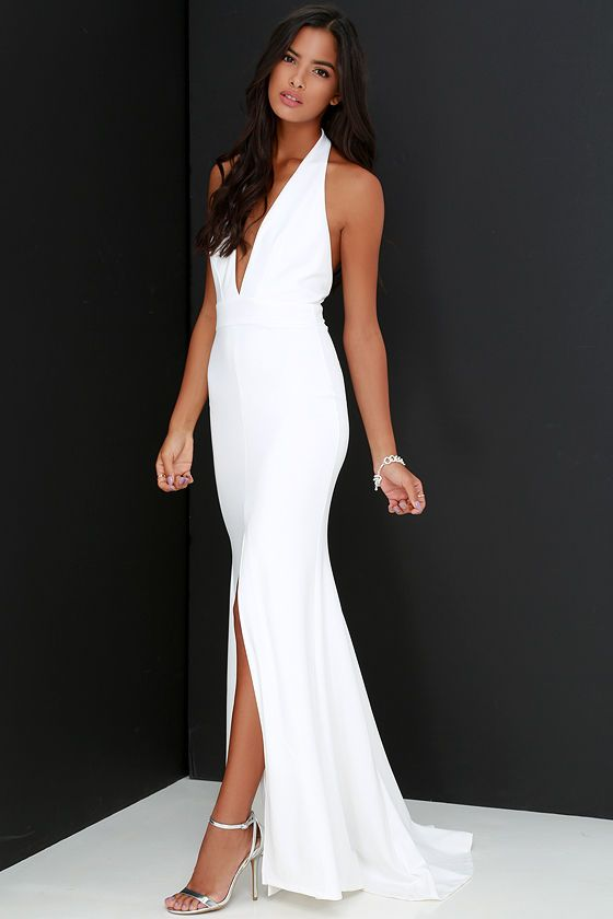 Robe dos nu longue blanche fendu genou