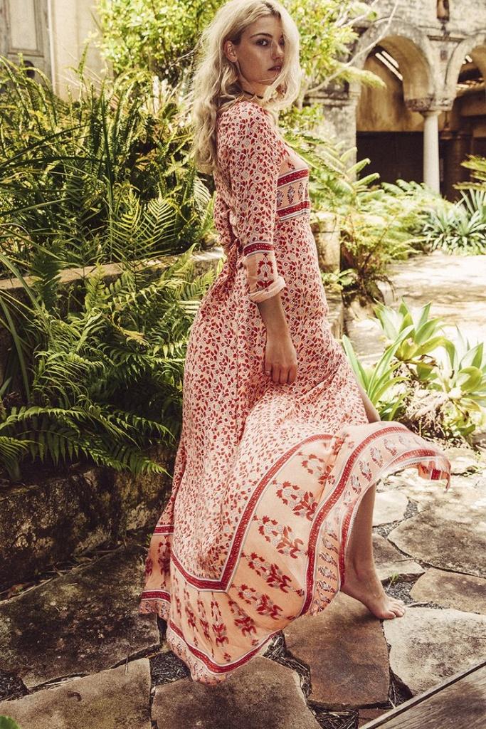 Robe ete boheme longue femme beige imprime rouge