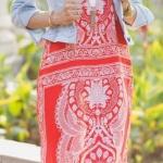 Robe ete longue femme rouge motif blanc mandala