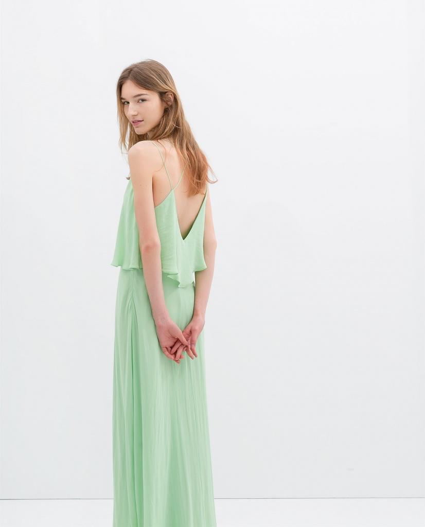 Robe ete longue vert pastel dos decollete