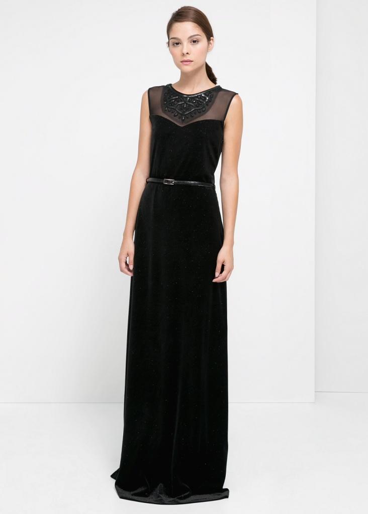 Robe femme longue mango noir pour soiree