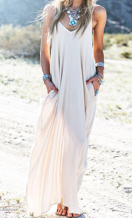 Robe fine bretelle longue blanche ete
