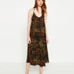 Robe fine bretelle zara longue imprime batik