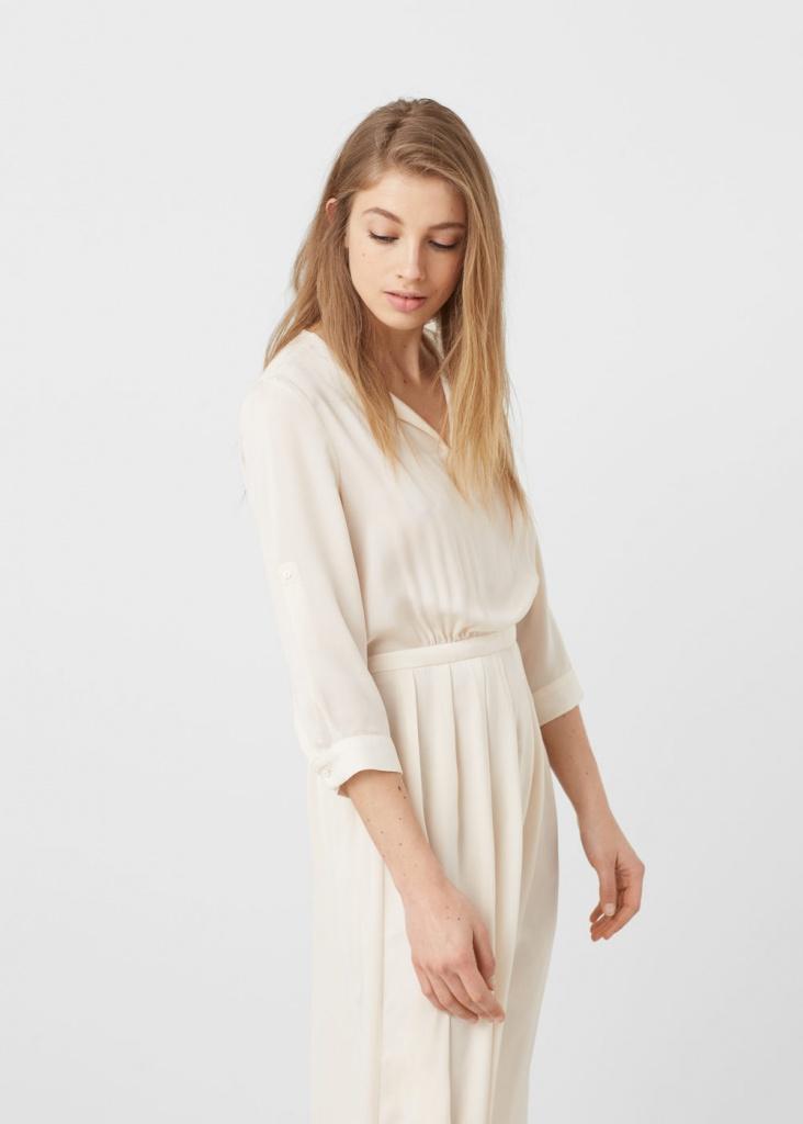 d4bae6d4001 Robe fluide ecru mango maxi longueur classe - la robe longue