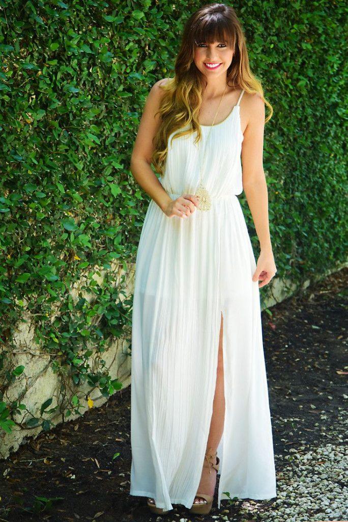 Robe habillee longue blanche ado tres fluide et fraiche pour ete