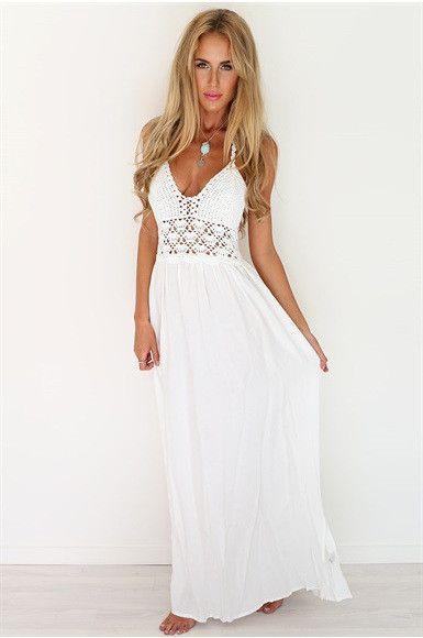 Robe longue blanche bustier crochet magnifique
