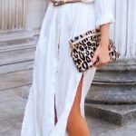 Robe longue blanche coton chemise fendue mi cuisse