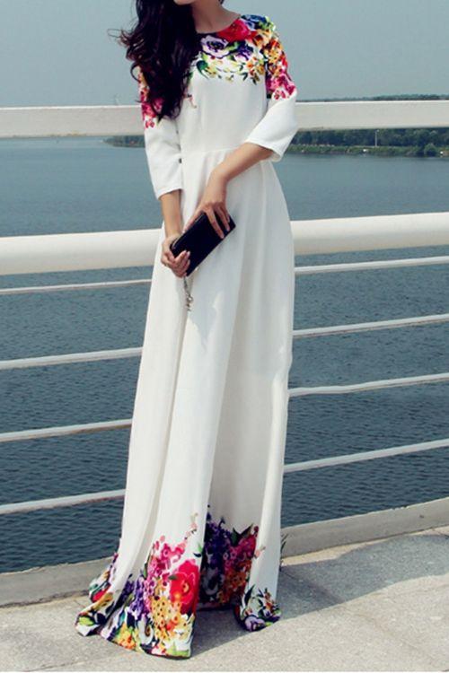 Robe longue blanche manche 3 4 imprime floral flashy haut et bas