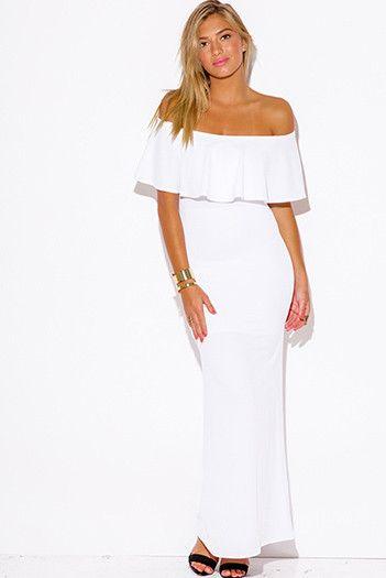 Robe longue blanche pour ete epaules denudees et volantes