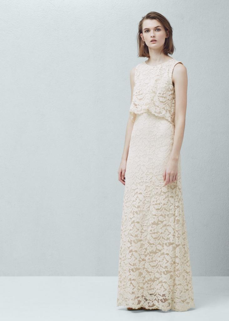 Robe longue dentelle guipure blanc casse collection 2016 ete