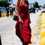 Robe longue ete femme rouge a fines bretelles coton