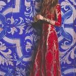 Robe longue femme dentelle rouge en surimpression