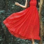 Robe longue femme imprime petit pois rouge babydoll