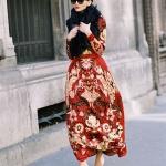 Robe longue femme imprime rouge blanc beige inspiration russe