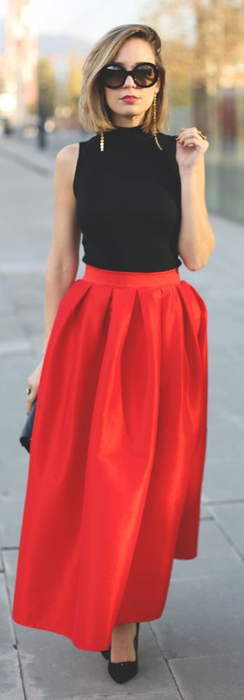 Robe longue femme jupe rouge et top noir