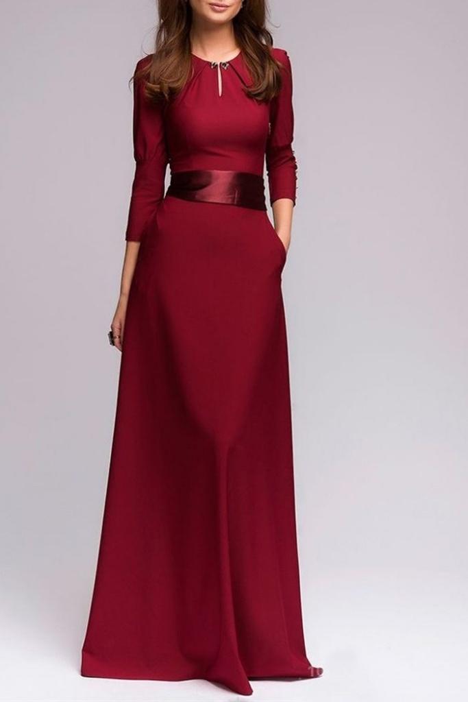Robe longue femme rouge bordeaux ceinture en satin et manches llongues
