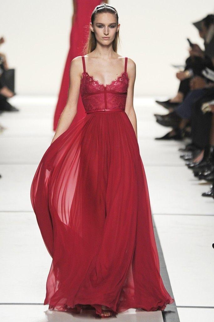 Robe longue femme rouge esprit lingerie
