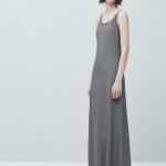 Robe longue fine bretelle mango coton gris