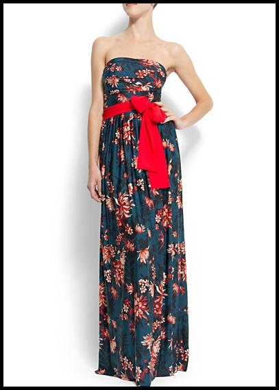 Robe longue fleuri ceinture rouge mango ete 2013