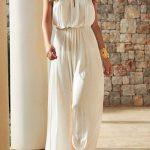 Robe longue fluide blanche ceintre taille