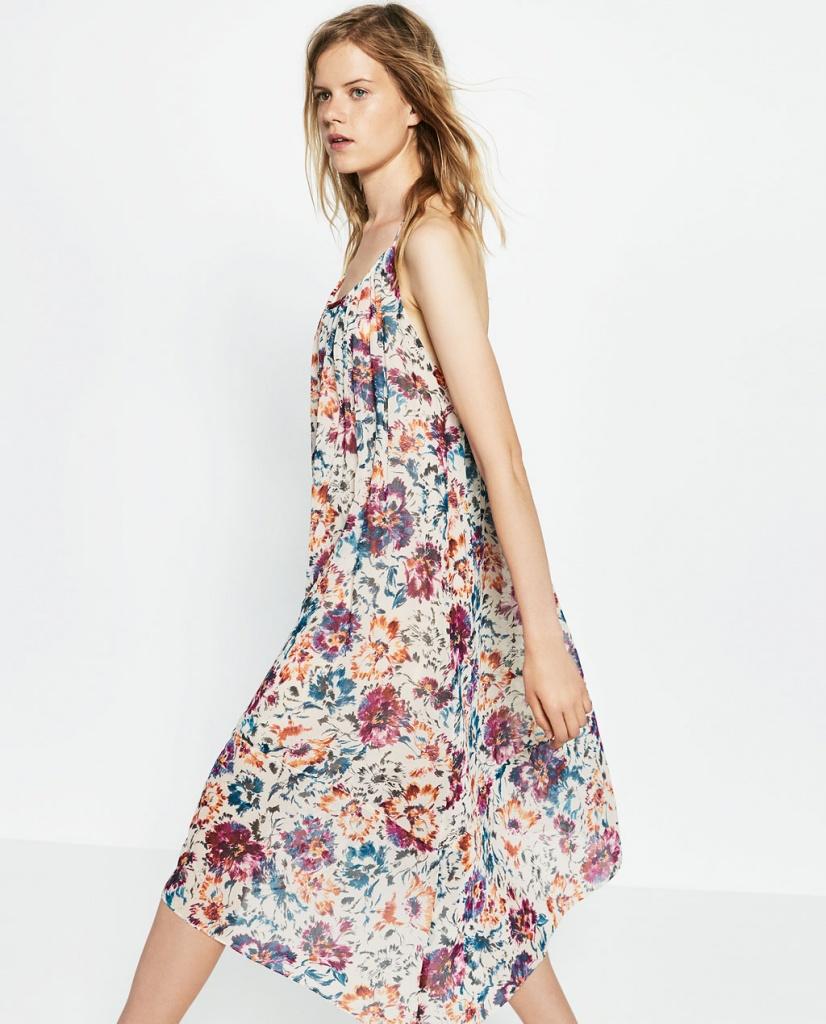8e2e28ca3fad2 Robe longue fluide zara imprime a fleurs - la robe longue