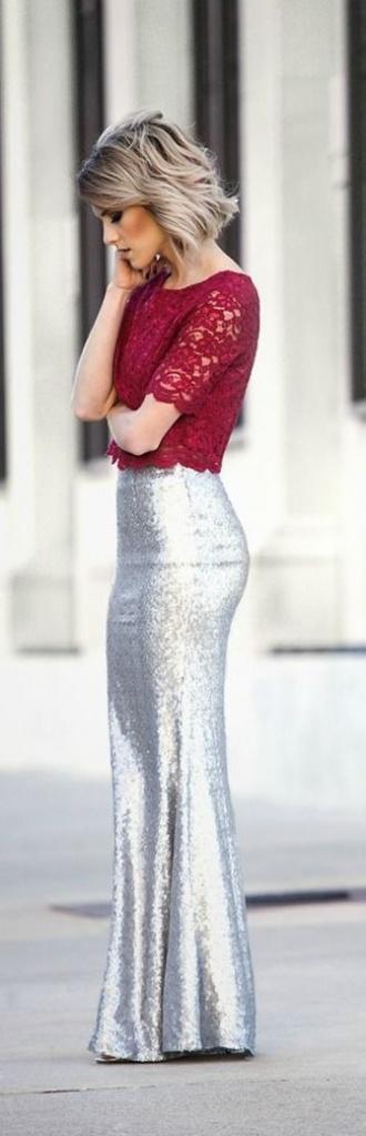 Robe longue habillee haut dentelle rouge jupe moulante argentee