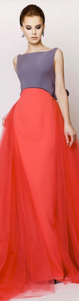 Robe longue habillee jupe rouge et haut mauve