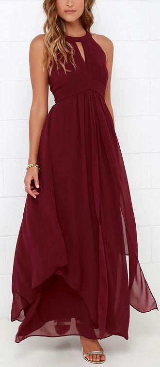 Robe longue habillee rouge fonce fluide voile sans manche