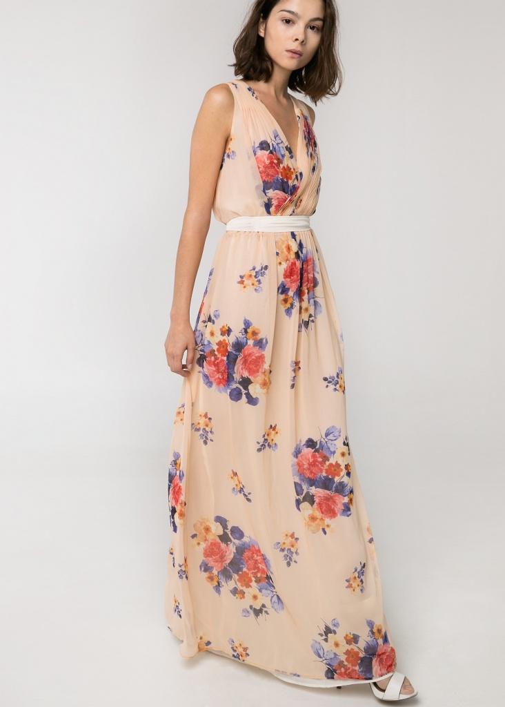 Robe longue imprime fleuri ete mango