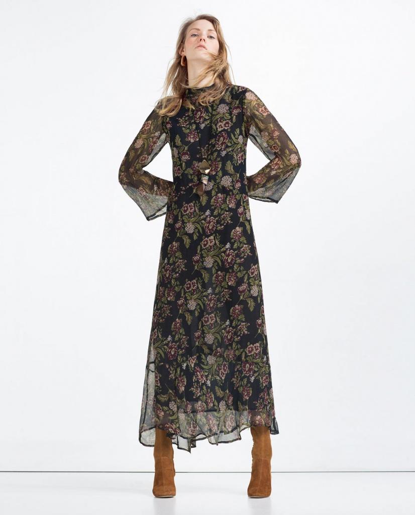Robe longue imprime floral manches longue et ras de cou