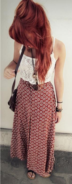 Robe longue jupe imprime blanc rouge top blanc
