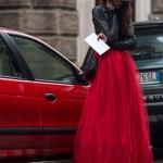 Robe longue jupon rouge facon danseuse