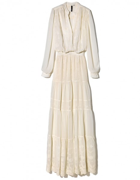 Robe longue mango ecru dentelle et coton