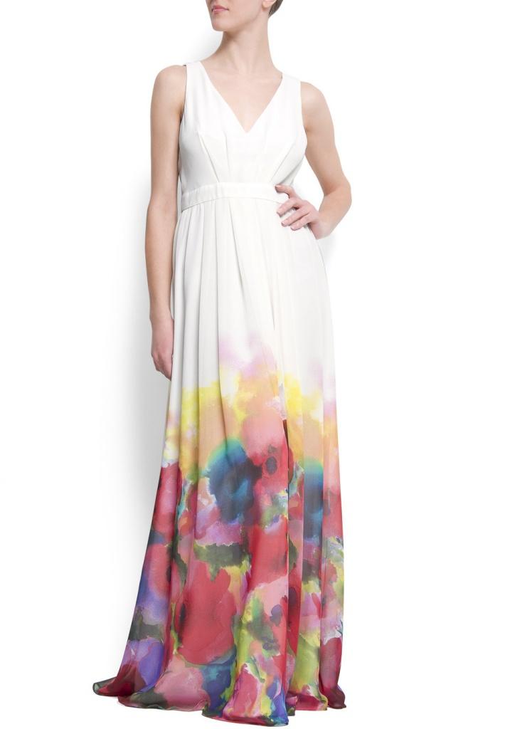 Robe longue mango ete 2012 blanche et imprime aquarelle fleur bas de jupe